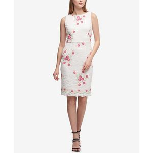 DKNY Embroidered Floral Lace Sheath Dress- Size 2